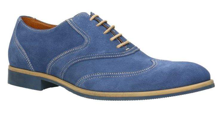 092366b6 Jasno niebieskie stylowe półbuty męskie marki GINO ROSSI z casualowej linii  ANDY. Klasyczny sznurowany fason na subtelnym obcasie z lekko zaokrąglonym  ...