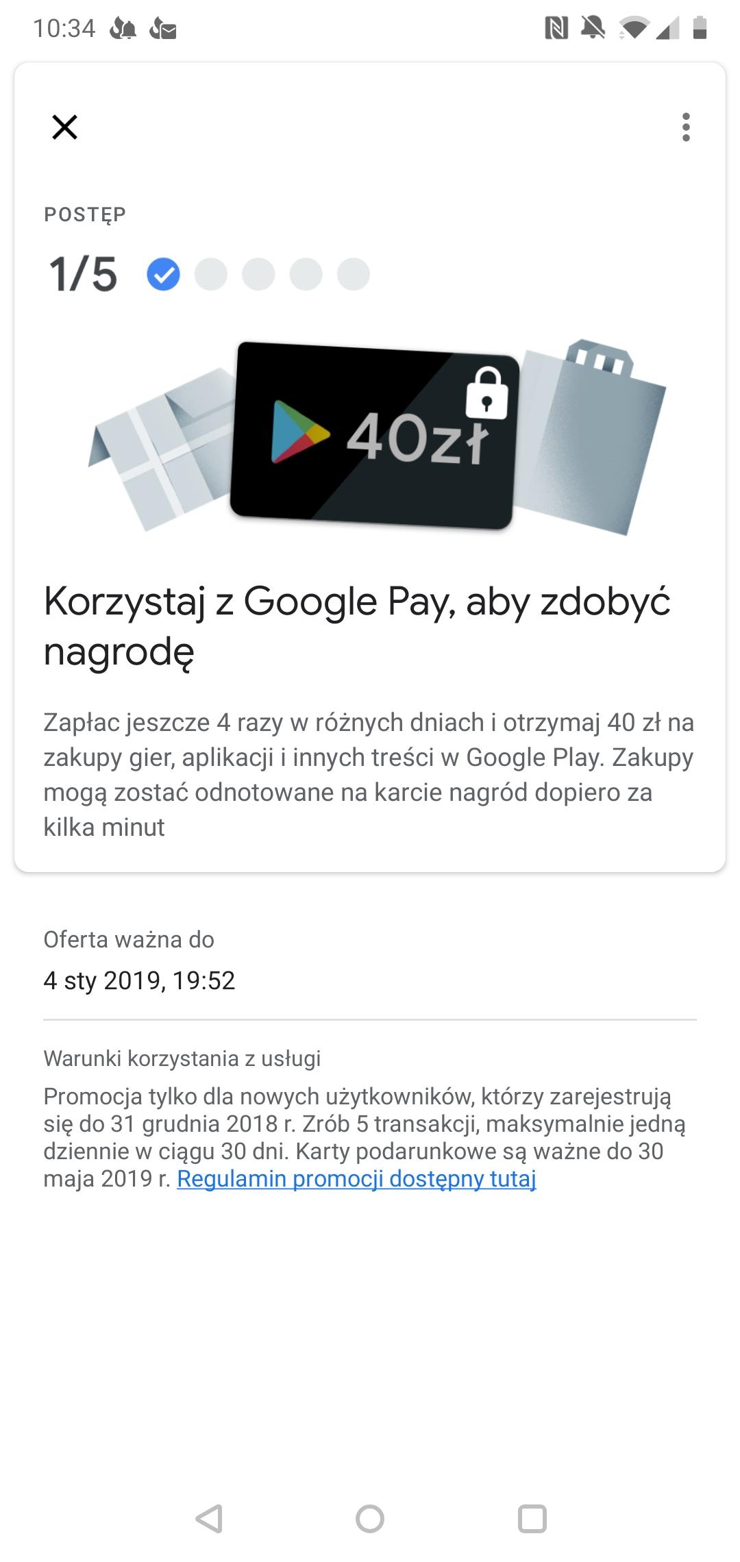 Karta Podarunkowa 40zl Za Piec Platnosci Wykonanych Przez Google Pay