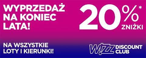 20% zniżki na loty dla członków WIZZ Discount club @ Wizzair