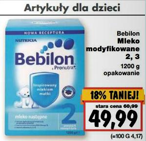 Mleko modyfikowane Bebilon 2, 3 (1200g) za 49,99zł @ Kaufland
