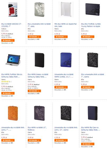 Pokrowce, okładki, etui na tablety (różne rozmiary i rodzaje) oraz na iPady za 4,49zł @ Empik