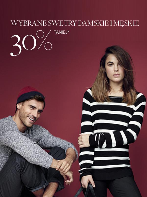 Swetry damskie i męskie taniej o 30% @ F&F