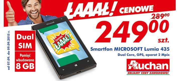 Microsoft Lumia 435 za 249zł (Dual-core, Dual SIM, 8GB, 1GB RAM) @ Auchan