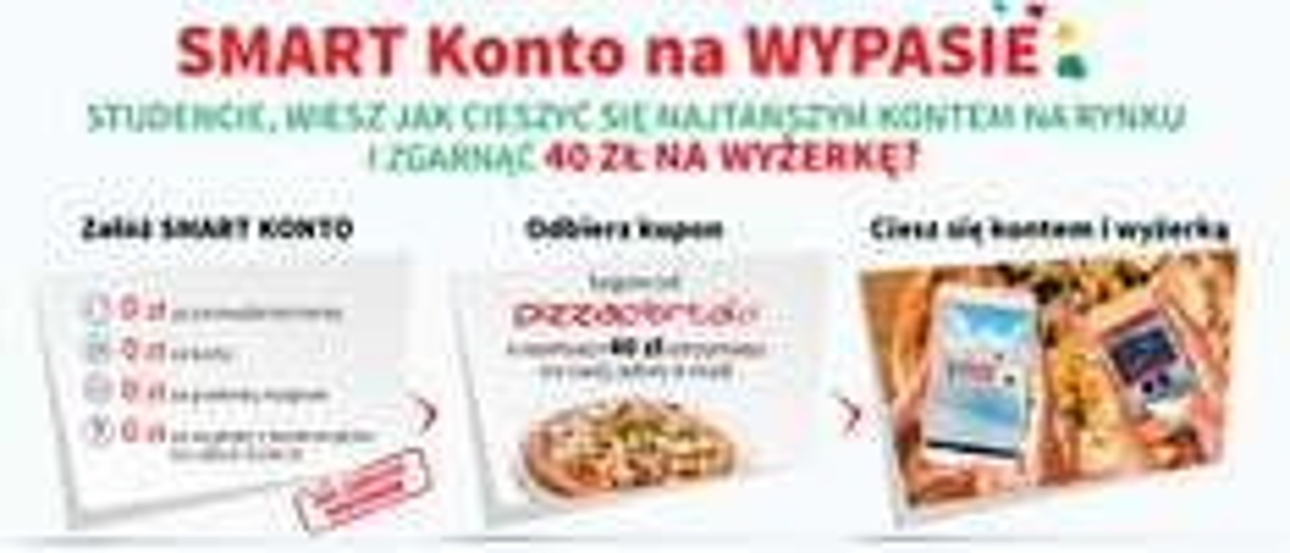 40zł do wydania na Pizza Portal za założenie w 100% darmowego konta SMART @ Bank Smart