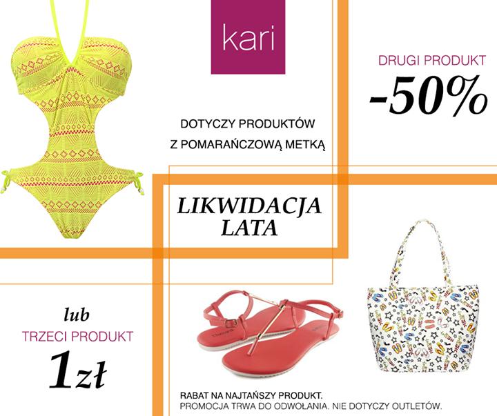 Drugi produkt -50%, trzeci produkt za 1zł @ Kari