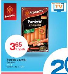 Parówki z szynki marki Sokołów w cenie 3,65zł/250g @