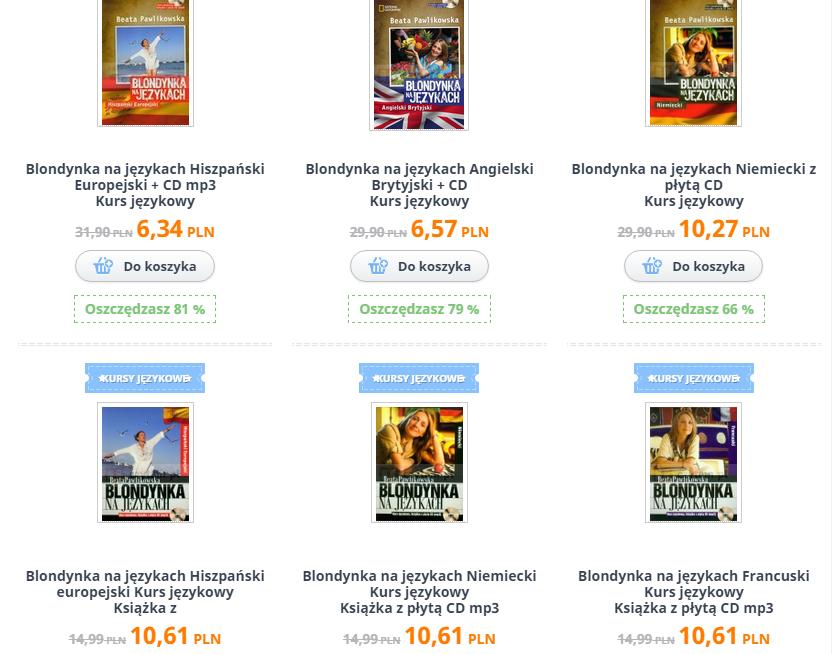 """Kursy językowe """"Blondynka na językach"""" Pawlikowskiej od 6,34zł (Hiszpański, Angielski, Niemiecki i inne) @ Czytam"""