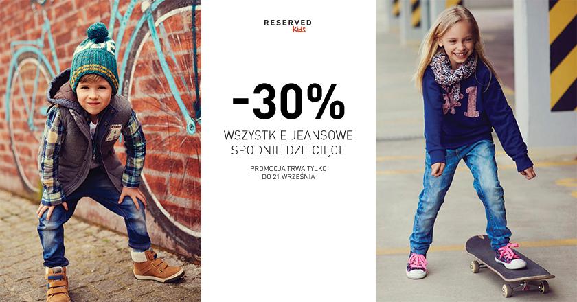 Dziecięce spodnie jeansowe taniej o 30% @ Reserved Kids
