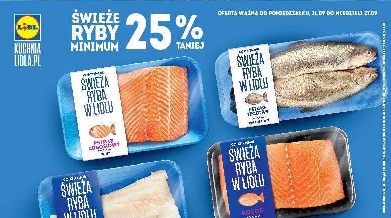 Świeże ryby taniej o min.25% (łosoś, dorsz, pstrąg) @ Lidl