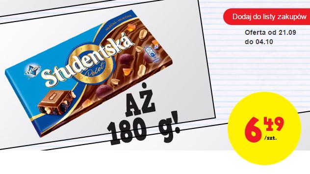 Czeska czekolada Studentská (180 g) za 6,49zl @ Biedronka