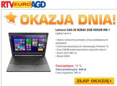 Laptop Lenovo G40-30 (N2840, 2GB RAM, dysk 500GB, Win 8.1/10) @ Euro