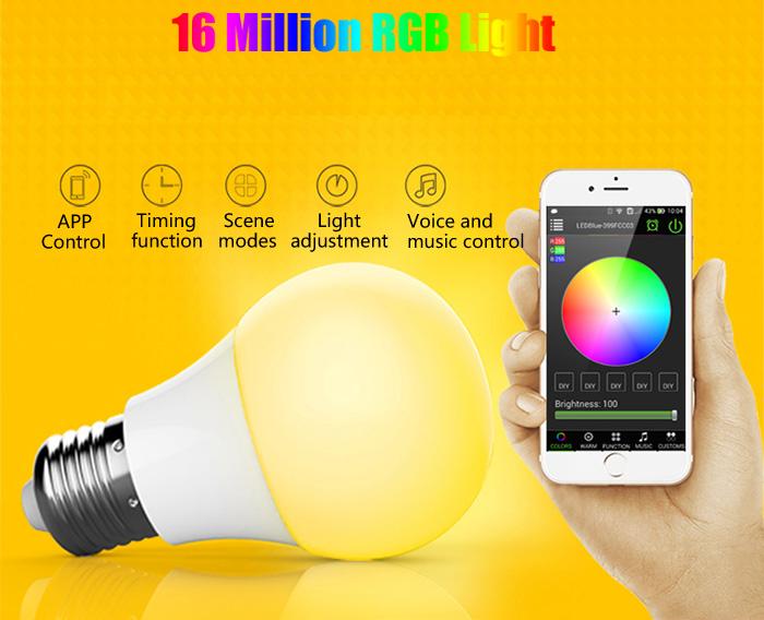 Inteligentna żarówka LED, Bluetooth, 16 milionów kolorów @Gearbest