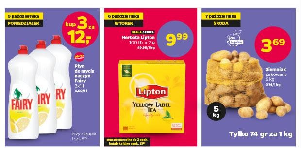 3l Fairy za 12zł, Herbata Lipton 100 torebek za 9,99zł, lub ziemniaki 5kg za 3,69zł @ Netto