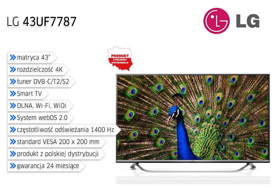 "LG LED 43"" (43UF7787) 4K/1400Hz/3xHDMI/USB/DVB-T/C/S za 2199zł @ Satysfakcja"