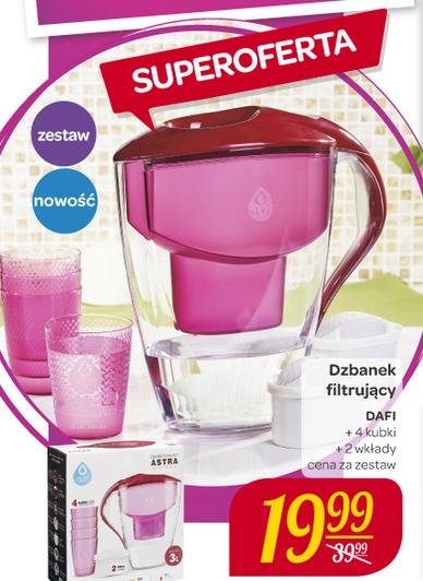 Dzbanek do filtrowania wody DAFI z czterema kubkami oraz 2 filtrami w zestawie za 19,99zł @ Carrefour