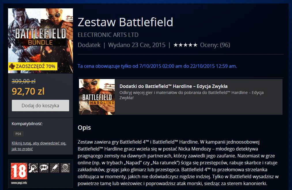 Battlefield 4 + Hardline na PS4 za 92,70zł @PSN