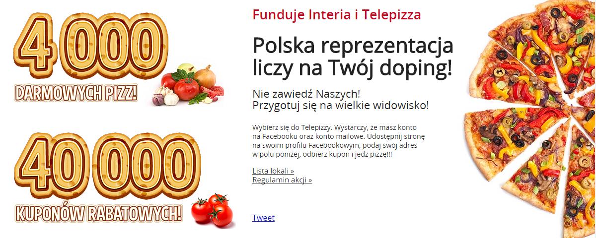 4000 darmowych pizz lub kupony rabatowe -55% @ Telepizza