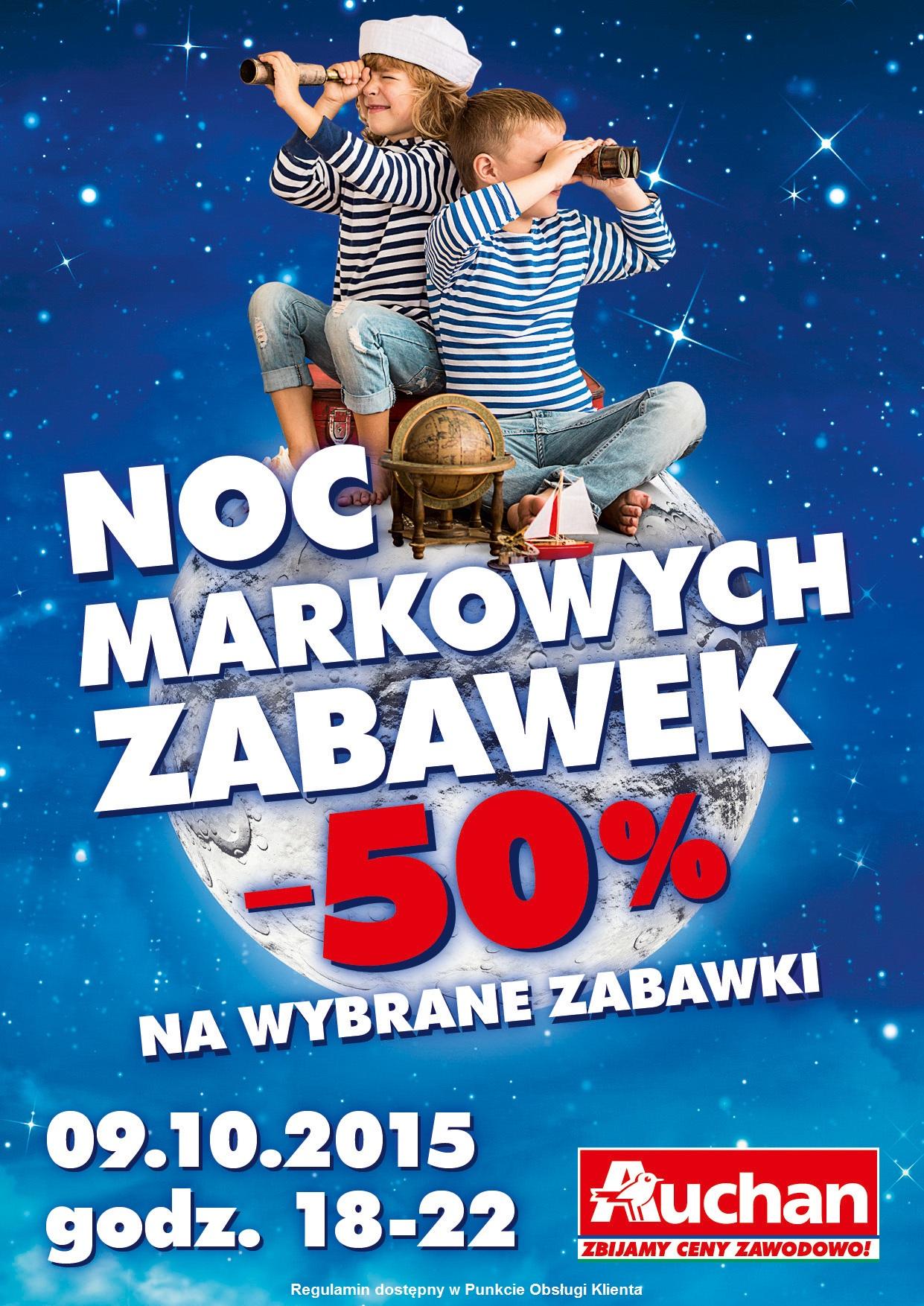 Nocna wyprzedaż markowych zabawek z rabatami -50% (9 październik) @ Auchan