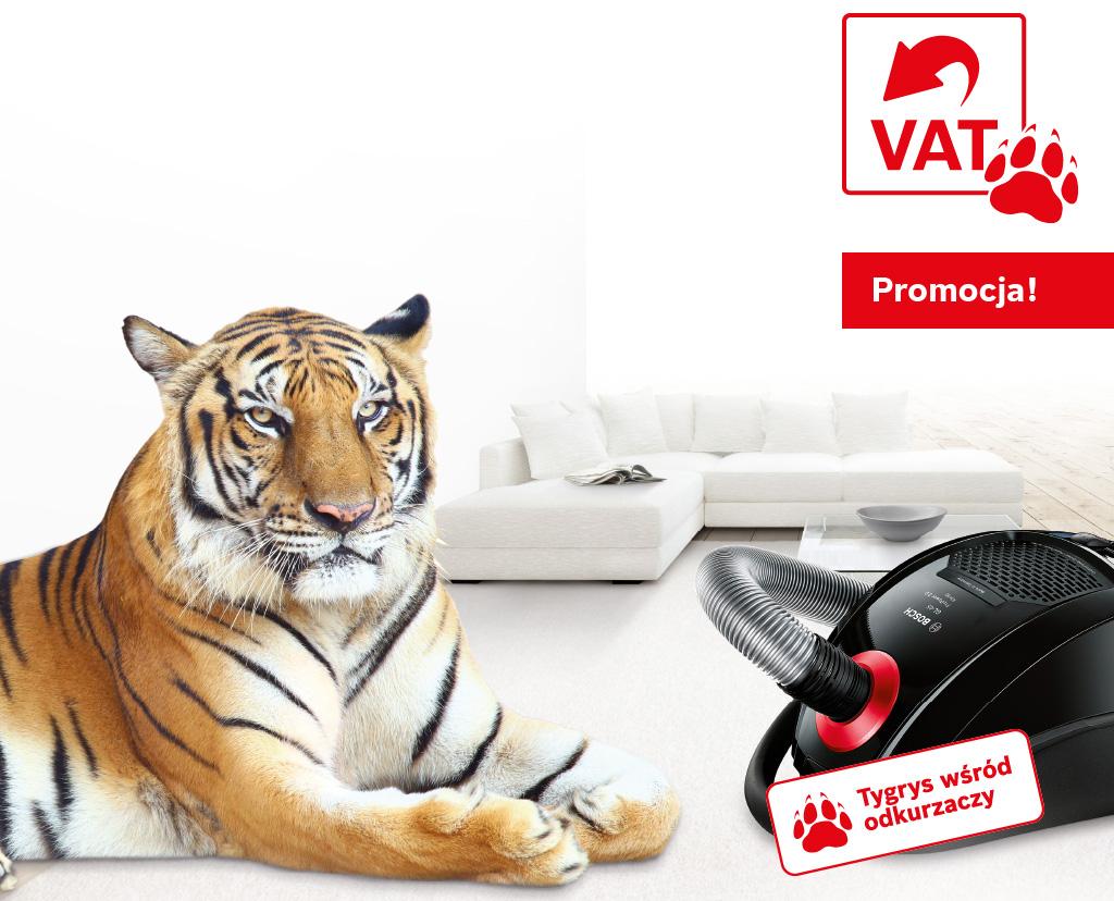 Tygrys bez VAT. Kup silniejszy z natury odkurzacz Bosch i odbierz VAT.