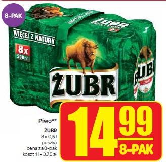 8-pak piwa ŻUBR za 14,99zł! @ CARREFOUR