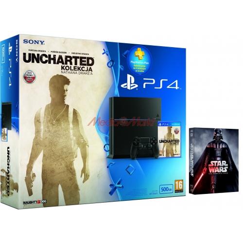 Playstation 4 C Chassis (Nowy model) + Uncharted: Kolekcja Nathana Drakea + 90 dni PS+ +  Gwiezdne Wojny: Saga [Blu-ray] @ Media Markt