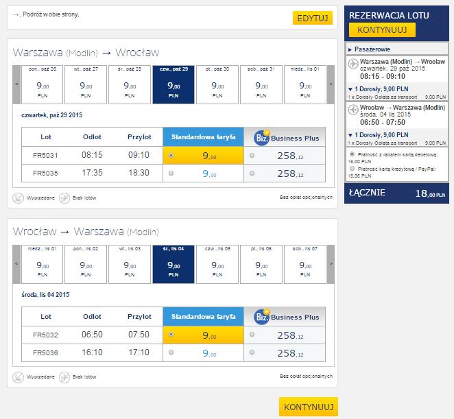 Bilety lotnicze na trasie Warszawa - Wrocław za 9zł (także powroty!) @ Ryanair