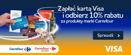 Bon rabatowy 10% przy płatności kartą Visa za produkty marki Carrefour