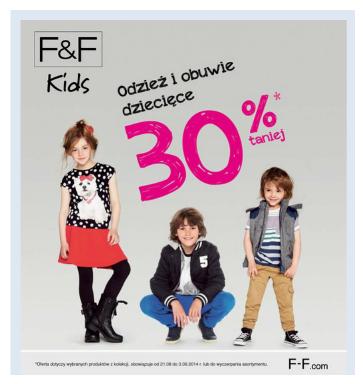 Odzież i obuwie dziecięce 30% taniej @ F&F