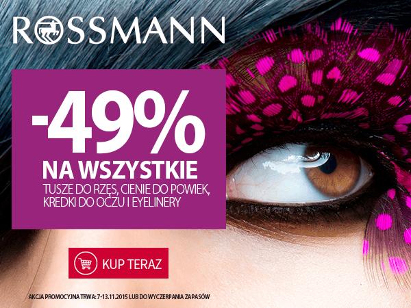 49% taniej na wszystkie produkty do makijażu oczu @Rossmann
