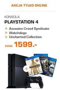 """Słynny zestaw"" Konsola PS4 1TB + Assassin's Creed Syndicate + Uncharted: kolekcja Nathana Drake'a + Watch Dogs za 1599zł SATURN"