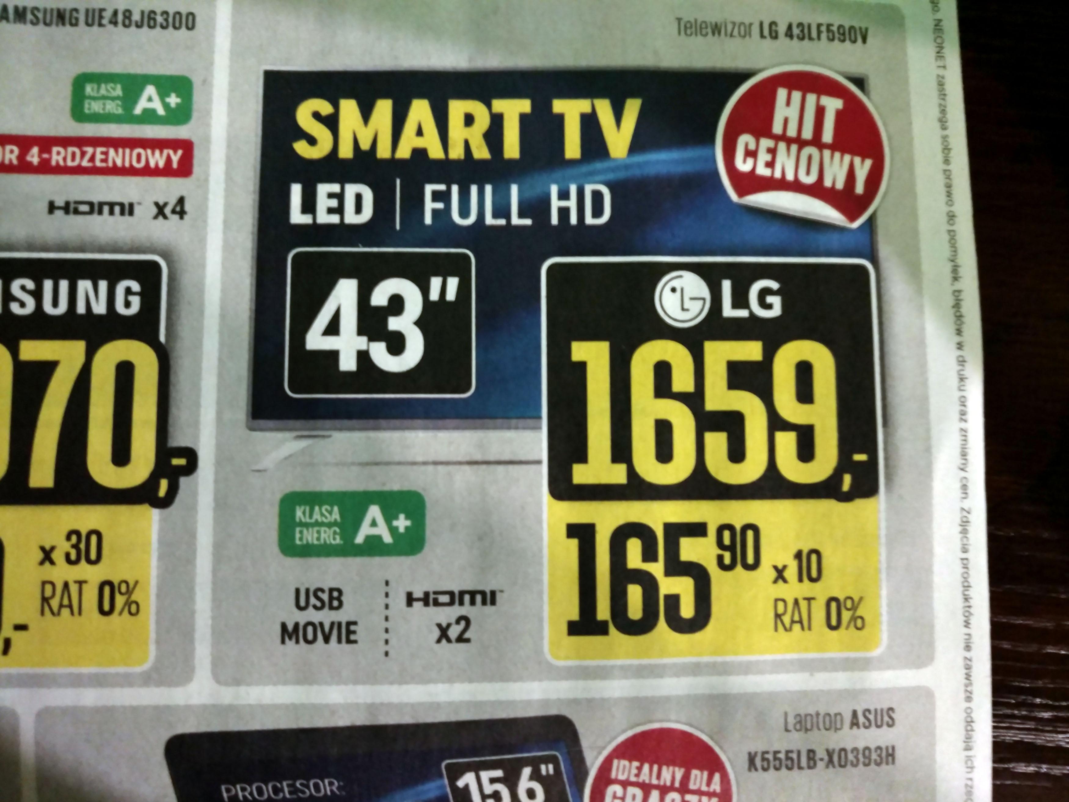 "LG43LF590V za 1659zł (43"", LED, Full HD, Smart TV) @ Neonet"