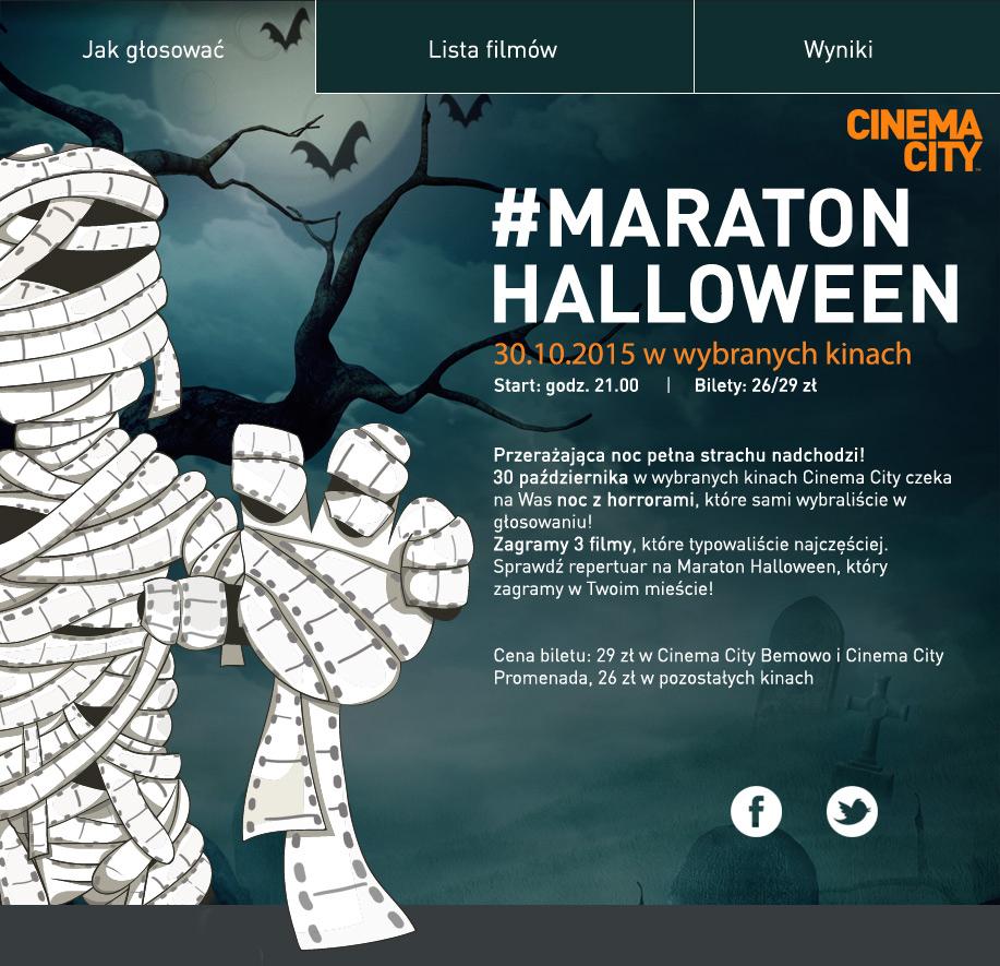 Bilety po 26zł /29zł na Maraton Halloween (30.10.) @ Cinema City