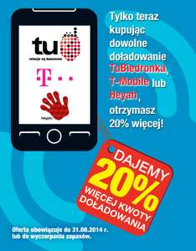 20 % wiecej za doładownaie telefonu @ Biedronka