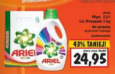 Płyn do prania Ariel 2,6l / proszek do prania Ariel 3kg za 24,95zł @ Kaufland