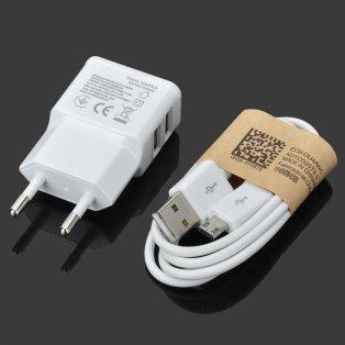 Podwójna ładowarka+kabelek USB za 2,25$(8,88zł) -42% @ Allbuy