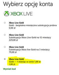 [Black Friday] Abonament Xbox Live Gold na 1 miesiąc za 1zł!