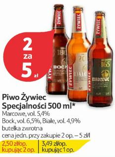 2 butelki piwa Żywiec: Marcowe, Bock lub Białe za 5zł @ Tesco