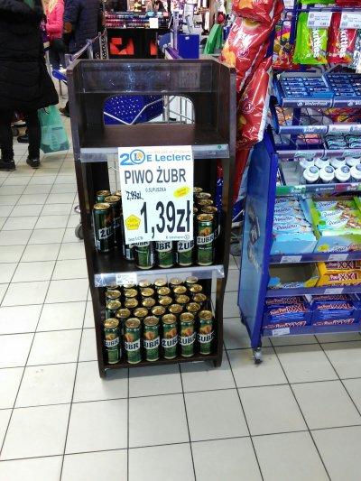 Piwo Żubr za 0,5L za 1,39zł @ E.Leclerc