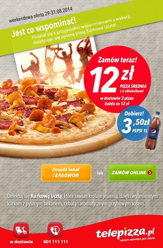 Kurkowa pizza średniej wielkości za 12zł @ Telepizza