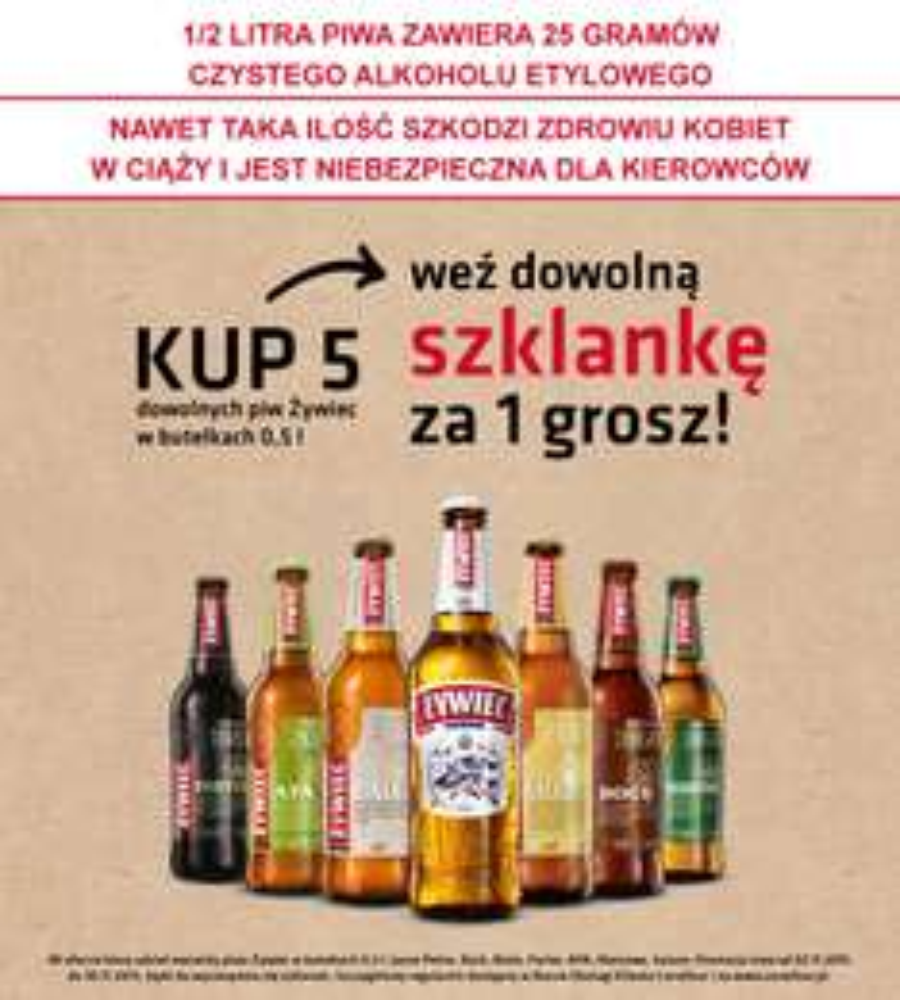 Szklanka za 1 GROSZ przy zakupie 5 piw @ Carrefour