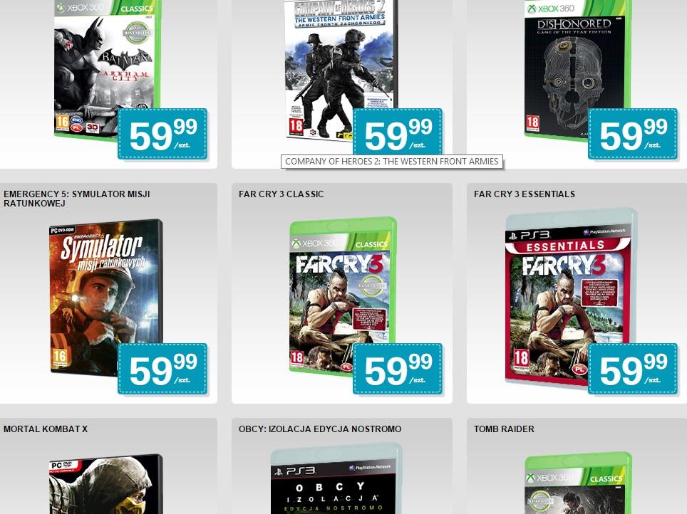 Gry na PC, PS3, PS4, Xbox 360, Xbox One po 59,90zł i 79,90zł @ Biedronka