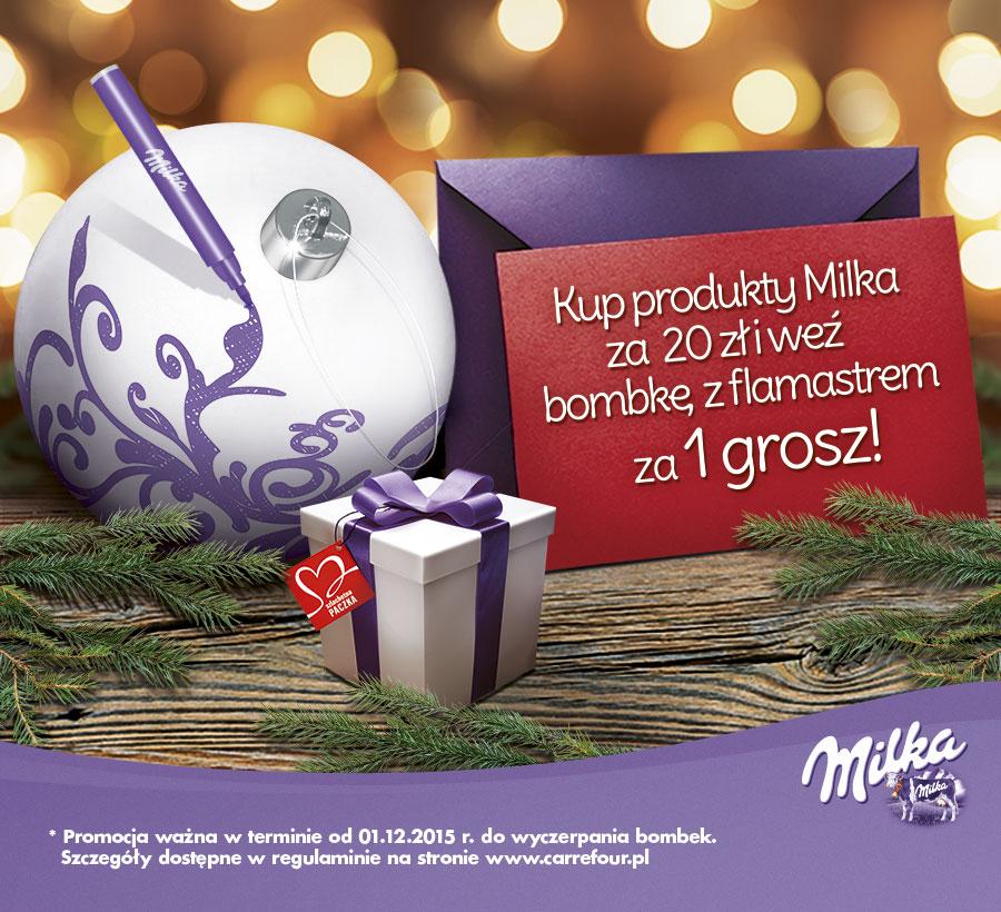 Bombka z flamastrem za 1GROSZ przy zakupie produktów Milka @ Carrefour