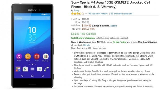 Xperia m4 aqua w dobrej cenie na amazon.com