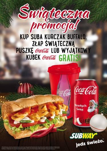 Do sandwicza puszka Coca Coli lub świąteczny kubek GRATIS @ Subway