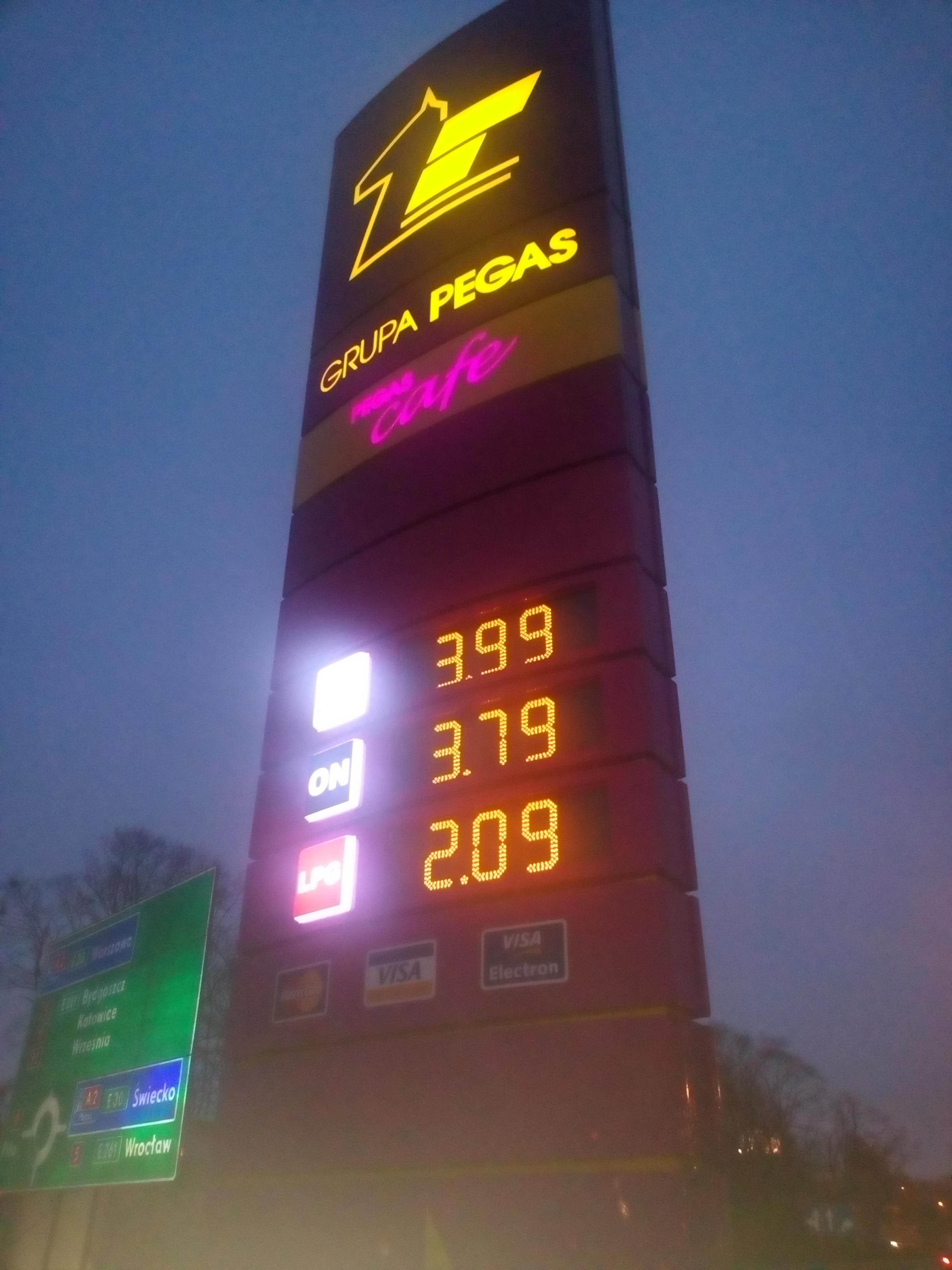 Paliwo: ON - 3,79zł, PB95 - 3,99zł (Poznań) @ Pegas Oil