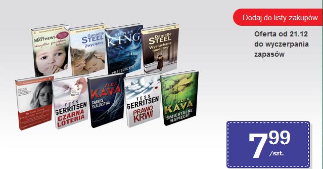 Książki w wydaniach kieszonkowych po 7,99zł (King, Steel, Kava, Szwaja, Rudnicka) @ Biedronka
