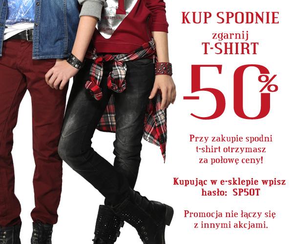 50% rabatu na t-shirt przy zakupie spodni @ Reporter Young