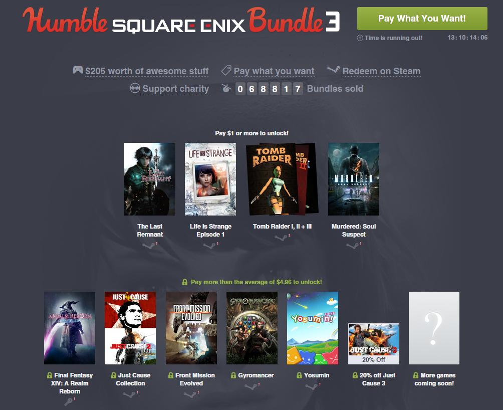 Square Enix Bundle 3 (zestaw gier od ~ 3,90zł) @ Humble Bundle