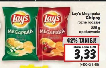 Mega Paka (225g) Chipsów Lay's za 3,33zł @ Kaufland