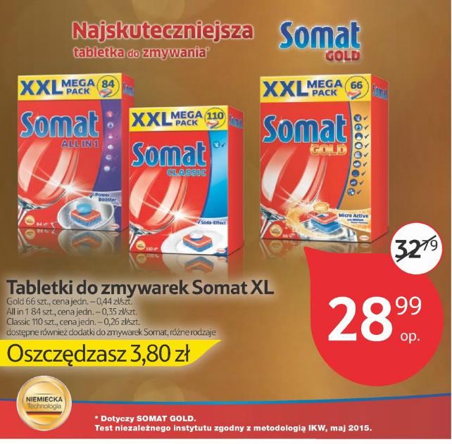 Tabletki do zmywarek Somat XXL w cenie 28,99zł za opakowanie (od 26gr za 1szt.) @ Tesco